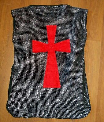Boys Medieval Silver Tabard/Tunic...Silver/Black/Red.  Age approx 5-7 yrs