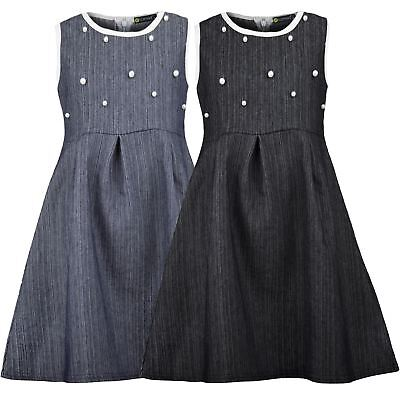 Girls Cotton Zip Denim Dress Teenagers Skater Pearl Piping Details Top 3-14 Y