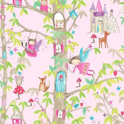 Arthouse Girls Woodland Fairies Pink Glitter Wallpaper Floral Nature Animals
