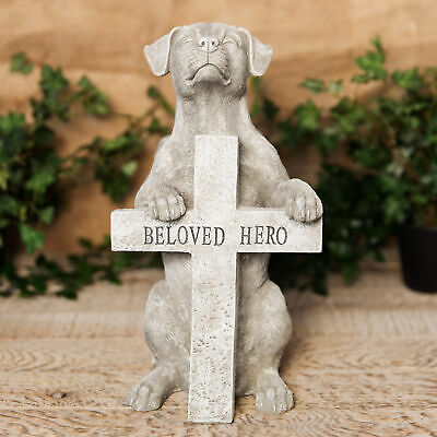 Dog Memorial Grave Stone Angel Wing Memorial Garden Figurine Beloved Hero Statue