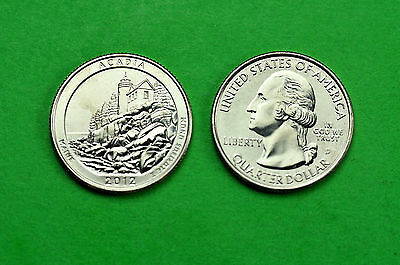 2012 - P&D  BU  Mint State (ACADIA) US  National Park Quarters (2 Coins)