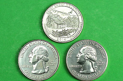 2014-P D S  BU Mint State(Great Smoky Mountains)National Park Quarters(3 Coins)