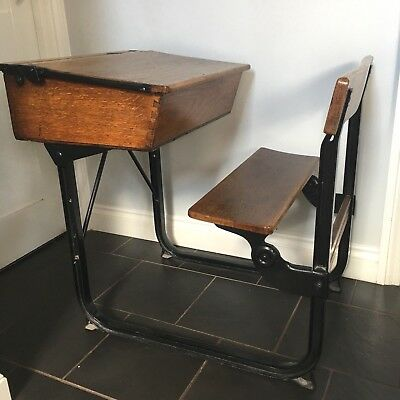 Beautiful vintage school desk with bench. Solid wood with black metal frame