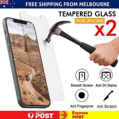 iPhone 11 11 Pro Max X XS Max XR - 2X Tempered Glass Screen Protector Apple