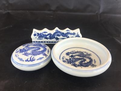 Good Set Of Vintage Chinese Blue & White Dragon Porcelain Dishes And Brush Rest.