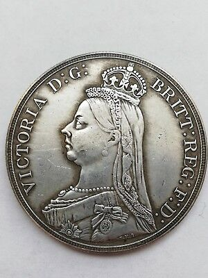 England UK 1888 One Crown Queen Victoria Coin