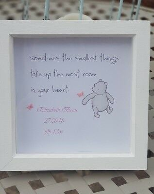 Personalised Winnie The Pooh Picture & Frame Nursery Gift ❤