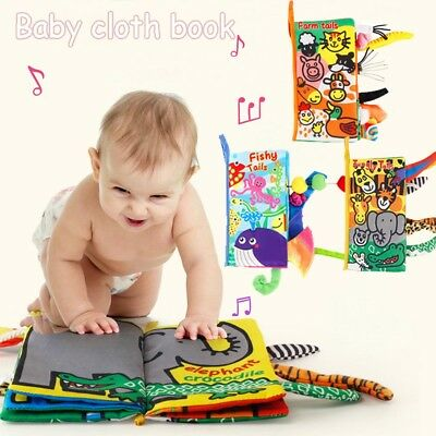 Infant Baby Kids Early Learning Educational Animals Read Soft Toys Cloth Books--