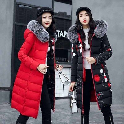 Women's Thicken With Big Fur Collar Winter Hoodie Coat Fur Warm Outwear Overcoat