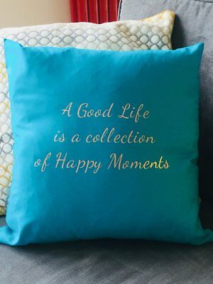 Turquoise Cotton Cushion Cover Rose Gold Text - A Good Life - Slight Flaw