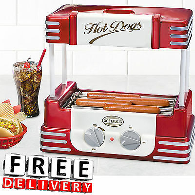 Hot Dog Roller Bun Warmer Nostalgia Adjustable Heat Machine Cooker Grill Retro