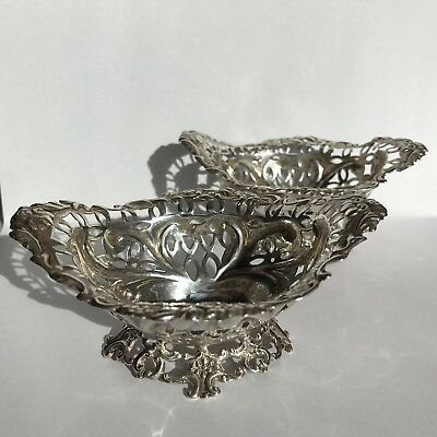 Antique Pair Of Solid Silver Bon Bon Dishes William Comyns 10cm 1893-1894