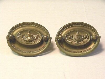 (2) Antique Pressed Brass Drawer Pulls / Handles -- W/ Original Screws