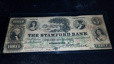 1800s The Stamdord Bank $3 Three Dollar Ornate Obsolete Currency Note Red pen
