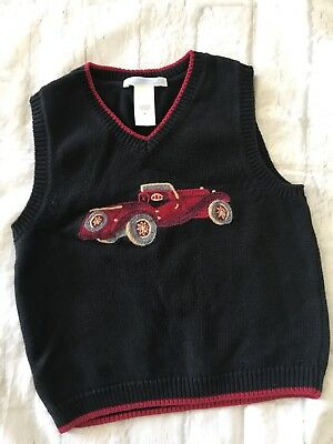 Janie and Jack Boys Size 2T Sweater Vest  Dressy Christmas Holiday Black Car EUC