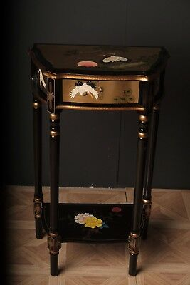 Antique Lacquered Hand Painted Oriental  Side Table