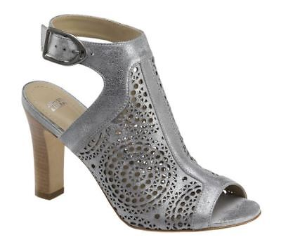 d7bd537d0 New Johnston   Murphy Womens Cassie Perf Pewter Peep Toe Sandals 78-30914