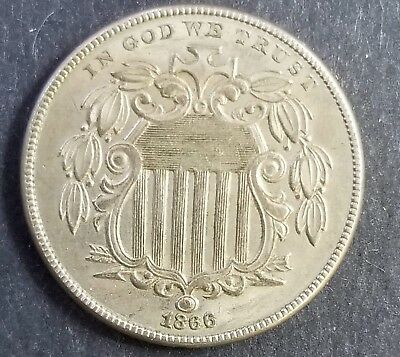 US COIN: 1866  Shield Nickel With Rays. XF+. Free Shipping.