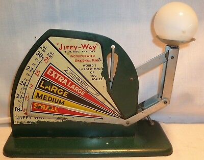Vtg Jiffy Way Egg Scale Green Owatonna MN Green Egg Scale