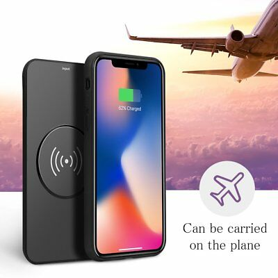 6000mAh Battery Wireless Charger Case Cover Magnetic Power Bank For iPhone X Xs