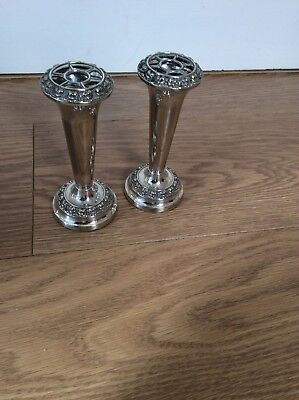 Pair Of Two Ianthe Silver Plated Bud Vases