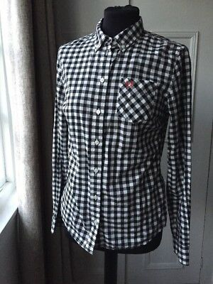 Black & White Check Gingham Fred Perry Shirt Top