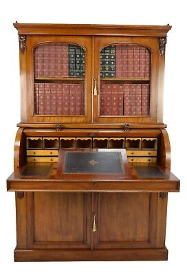 Antique / Victorian Mahogany Cylinder Desk Library Bookcase Circa 1870