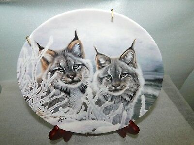 """1993 Porcelain Collectible Plate""""Eyes In The Snow"""" by W.L. George, Numbered"""