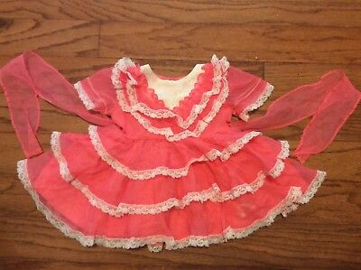 Vtg Martha's Miniatures We're Fussy Pink Ruffles Dress Lace Trim  Size 9-12 Mo