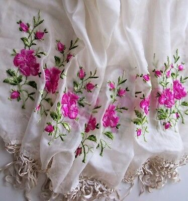 """Stunning Embroidery Rare Antique Stole /shawl Pashmena """"over 85 Years Old """"silk?"""