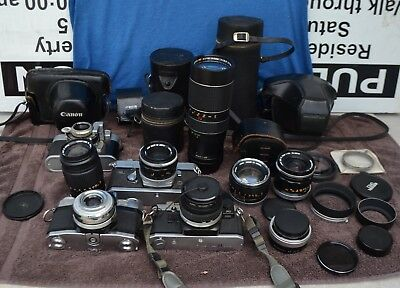 HUGE  Camera And Lenses Bundle Lot Cannon Carl Ziess And MORE