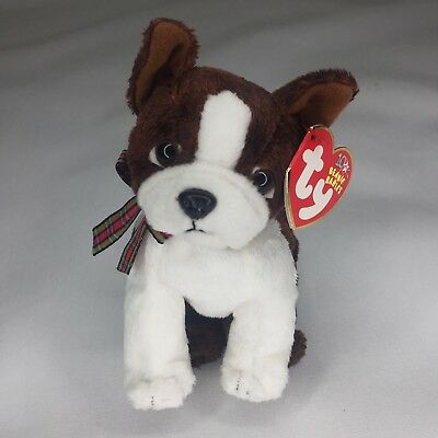 TY Beanie Baby Sport Mint Boston Terrier Dog 2002 Brown White Mint Tag Retired