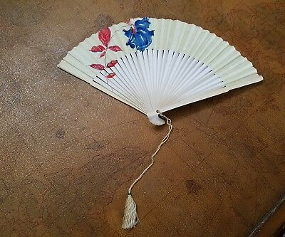 Vintage Small Bamboo and Rice Paper Hand Fan