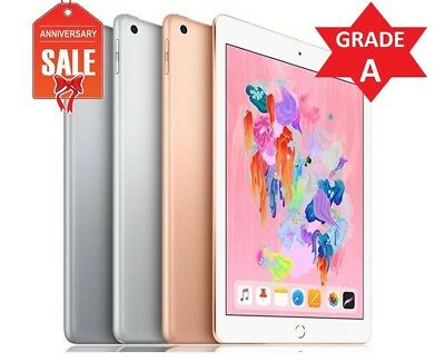"Apple iPad 6th gen 2018, 128GB WiFi 9.7"" Touch ID GOLD GRAY SILVER - GRADE A (R)"