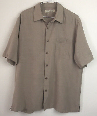 373afe503ce80a ISLAND REPUBLIC 100% SILK TAN withLEAF PATTERN SHIRT MENS M MEDIUM ...