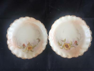 GOOD PAIR OF ANTIQUE FRENCH LIMOGES ( Reddon ) PORCELAIN HAND PAINTED DISHES