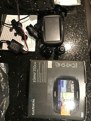 Garmin Zumo 350LM motorcycle sat-nav inc power supply and RAM top yoke mount