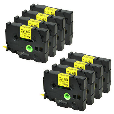 8PK for Brother HSe611 Black on Yellow Heat Shrink Tube Label Tape 5.8mm PTE550W