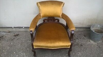 antique edwardian mahogany tub chair, captains chair