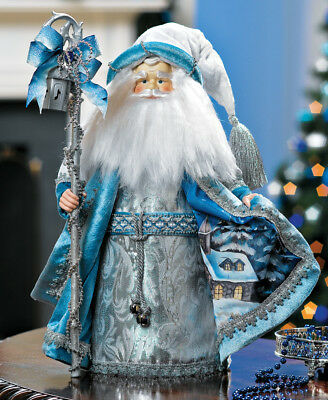 """Christmas Collectible Santa Claus Figure In Blue & Silver Robe Porcelain 16""""H"""