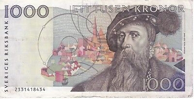 Banknote From Sweden 1000 Kronor Year 1992  Nice And Difficult!!
