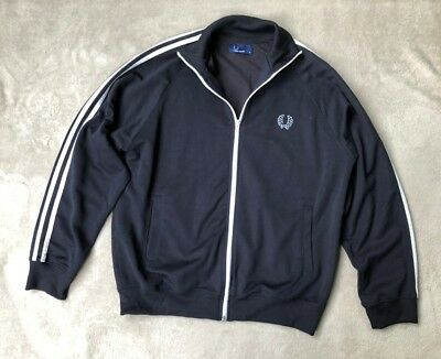 Mens vintage Fred Perry, designer, zipped track suit top, Navy Blue, size M