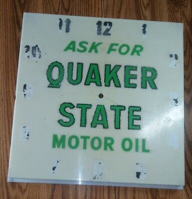 "Vtg Quaker State Motor Oil Lighted Clock Gas Station 16"" SQ - Parts Cover Only"