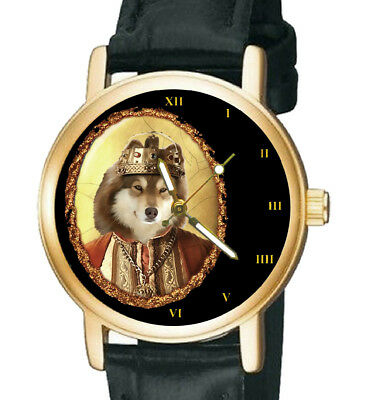 Charming Finnish Lapphund Spitz Collectible Dog Art Unisex Brass Wrist Watch