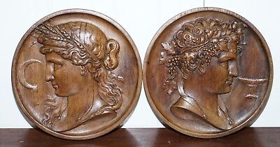 Pair Of Solid Walnut Hand Carved Grand Tour Plaques God Apollo & Goddess Ceres