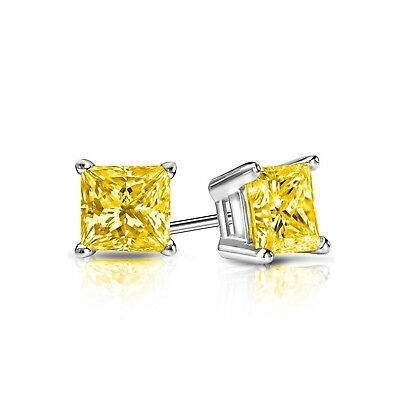 1 Ct Princess Canary Earrings Studs Cut Screw Back Basket Solid 14K White Gold