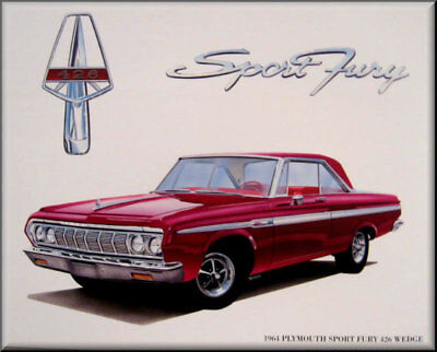 1964 Plymouth Sport Fury 426 Wedge, Flat flexible Refrigerator Magnet, 40 MIL