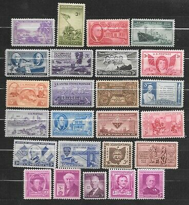 T&G STAMPS - 3 Cent US Postage Collection - 25 Vintage Stamps 70-90 Yrs Old A