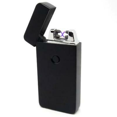 USB Electric Dual Arc Flameless Matte Black Rechargeable Windproof Lighter
