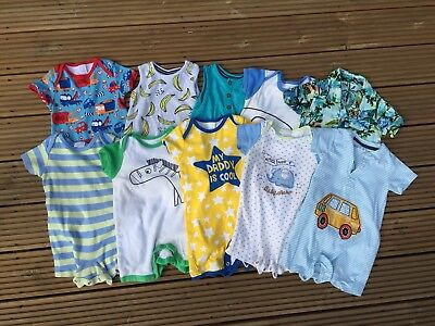 10 Summer Baby Boy Rompers Outfits 6-9 Months Bundle